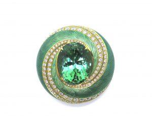 Green Tourmaline Diamond and Enamel Swirl Pendant