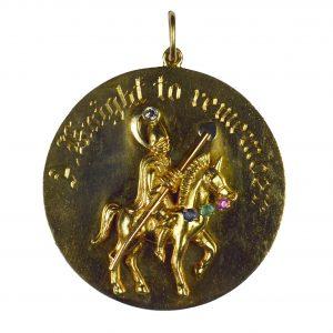 Yellow Gold Gem Set Knight To Remember Medallion Charm Pendant