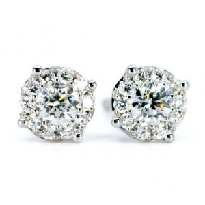 Modern 0.40ct Diamond Cluster Stud Earrings
