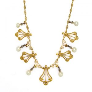 Antique French Pearl, Diamond and 18ct Gold Fringe Necklace, Circa 1900
