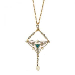 Antique Edwardian Pearl, Blue Zircon and Diamond Fancy Drop Pendant