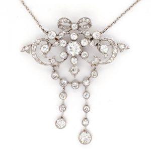 Art Nouveau 3.50ct Diamond and Platinum Ornate Bow Pendant