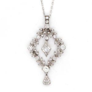 Antique Diamond and Platinum Openwork Drop Pendant, Circa 1915