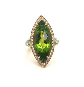 Peridot and Diamond Marquise Enamelled Ring