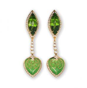 Peridot Diamond and Green Enamel Drop Earrings