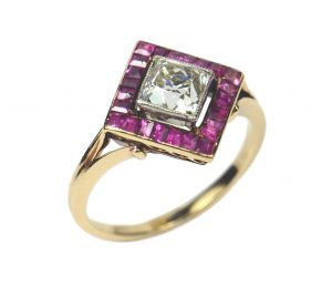 Antique Edwardian 1.20ct Diamond and Ruby Square Cluster Ring