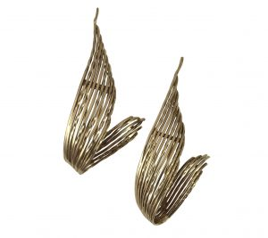 Pierre Sterlé Vintage Pair of Gold Feather Clip Brooches, Circa 1950s