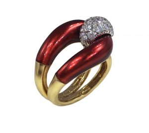 Vourakis Vintage Red Enamel, Diamond and Gold Buckle Ring