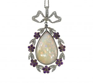 Belle Epoque 8ct Opal, Diamond and Amethyst Pendant