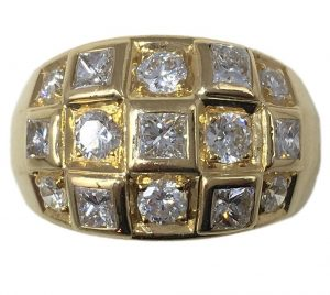 Vintage French 2.00ct Princess Cut Diamond and 18ct Gold Bombe Ring
