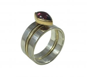 Vintage Wendy Ramshaw Garnet Ring Set, in Silver and Gold
