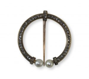 Antique French Diamond and Pearl Fibula Brooch, Circa 1890
