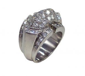 Modernist 2.10ct Diamond Set Platinum Ridge Dress Ring