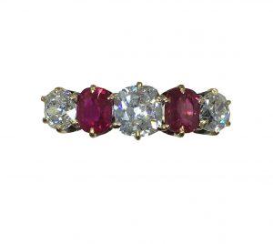 Antique Edwardian Burmese Ruby and Diamond Five Stone Ring