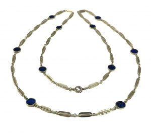 Vintage Lapis Lazuli and Gold Fancy Link Chain Necklace, Circa 1960s