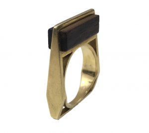 Contemporary French Wood and Gold Square Ring