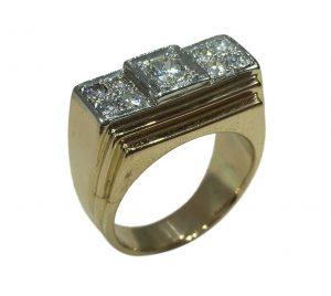 Vintage 0.60ct Diamond, Rose Gold and Platinum Dress Ring, Circa 1935