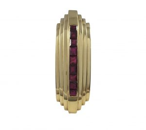 Late Art Deco French 4.50ct Ruby and 18ct Gold Clip Brooch