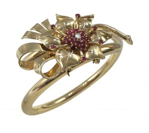 Vintage Ruby, Diamond and Gold Flower Bangle Brooch, Circa 1940s