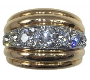 French 1940s Diamond Gold Platinum Ridged Dome Ring, 4cts