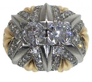 French Retro 2.55ct Diamond, Gold and Platinum Bombe Ring