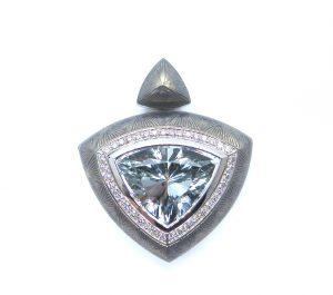 Trillion White Sapphire 8.71ct and Diamond Enamel Pendant