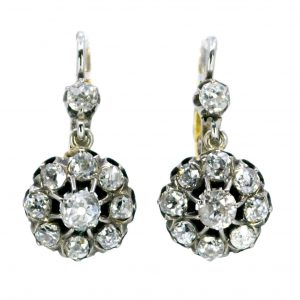 Victorian Antique 2ct Old Mine Cut Diamonds Drop Earrings