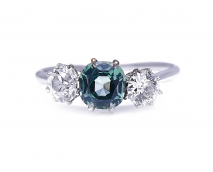 Vintage 1.75ct Green Sapphire and Diamond Three Stone Ring