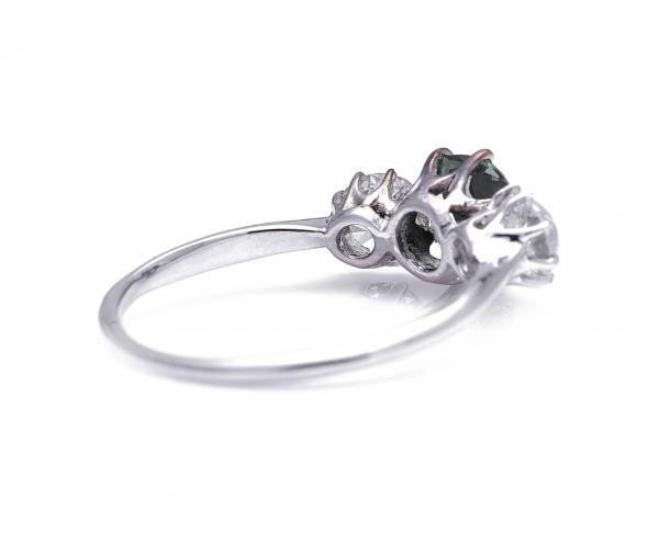 Vintage 1.75ct Green Sapphire and Diamond Three Stone Ring