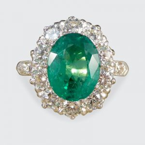 Vintage 2.17ct Emerald and 1.35ct Diamond Cluster Ring