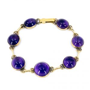Vintage 30ct Amethyst Gold Bracelet