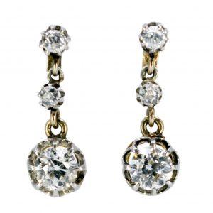 Vintage 3cts Old Mine Cut Diamond Drop Earrings