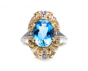 Vintage Aquamarine and Rose Cut Diamond Ring, Circa 1930