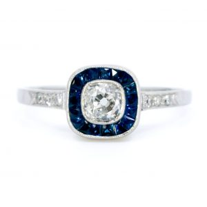 Vintage Cushion Cut Diamond and Sapphire Target Cluster Ring