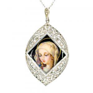 Vintage Enamel Portrait and Rose Diamond Pendant