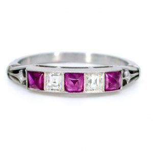 Vintage Ruby and Diamond Platinum Ring
