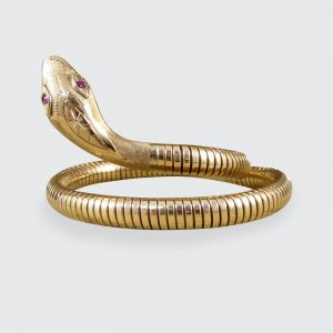 Vintage Snake Gold Bangle Bracelet with Garnet Set Eyes
