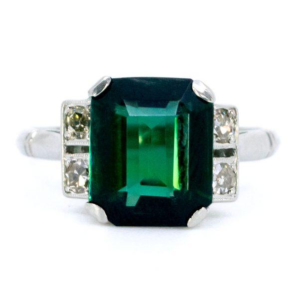 Vintage Tourmaline and Diamond Platinum Ring