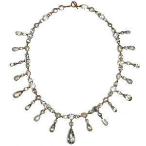 Antique Georgian Aquamarine and Pearl Fringe Riviere Necklace