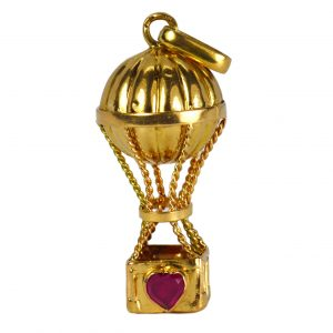 Ruby Love Heart 18ct Yellow Gold Hot Air Balloon Charm Pendant