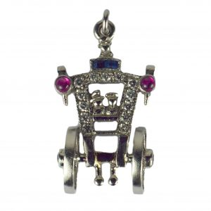 Art Deco Ruby Sapphire Diamond Just Married Carriage Charm Pendant