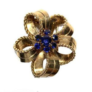 Vintage 1940's Cartier Sapphire and Gold Bow Brooch
