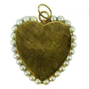 Vintage 14ct Yellow Gold and Pearl Large Heart Charm Pendant