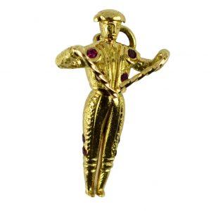 Ruby and 18ct Yellow Gold Spanish Matador Charm Pendant