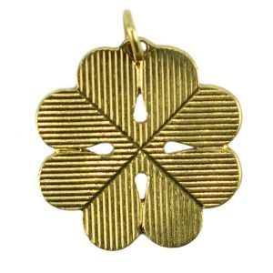 Four Leaf Clover Shamrock 18ct Yellow Gold Engraved Charm Pendant