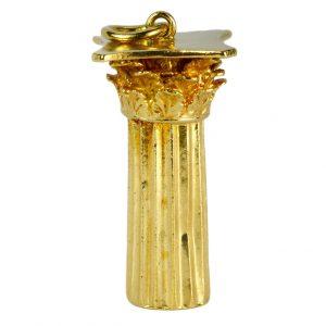 18ct Yellow Gold Roman Corinthian Column Charm Pendant