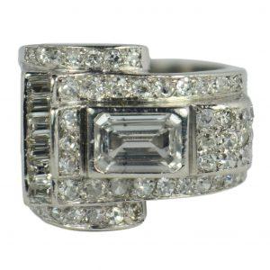 Vintage 2.45ct Diamond and Platinum Tank Dress Ring, Circa 1940s