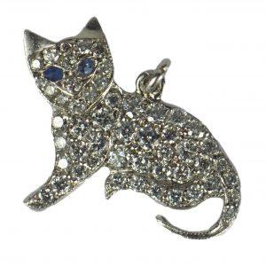 Art Deco 1.30ct Diamond, Sapphire and Platinum Cat Charm Pendant