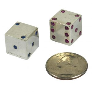 Pair of Vintage French Silver Ruby Sapphire Dice