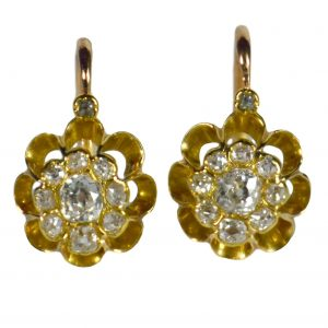French Dormeuse 1.50ct Diamond Floral Cluster Drop Earrings
